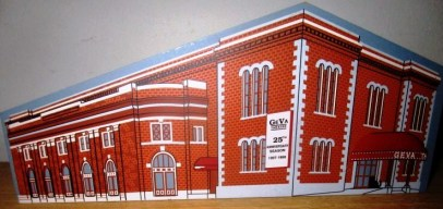 """Gift from Lucian Waddell. ceramic miniature: """"Geva Theatre, Rochester, New York, Performing at the Richard Pine Theatre, 25th Anniversary Season 1997 - 1998, Limited Edition"""""""