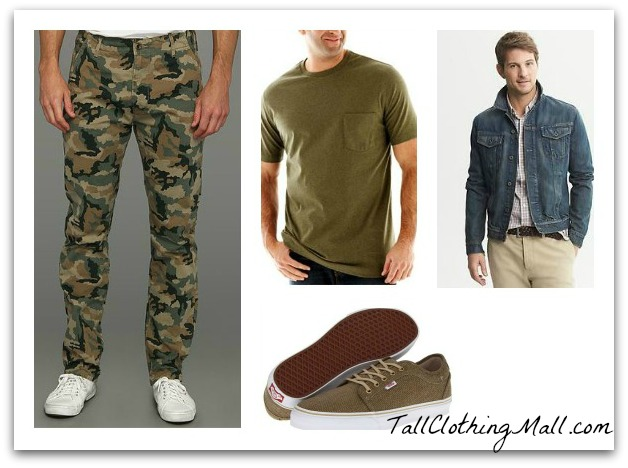 men's tall camo pants and outfit
