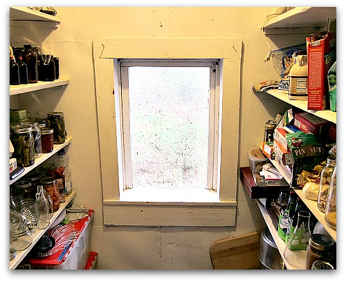 canning shelves pantry window