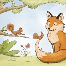 Fox and curious squirrel