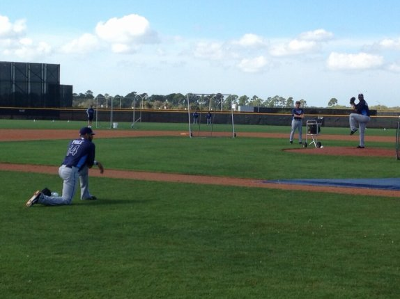 David Price in the foreground, Roberto Hernandez on the mound. (Photo courtesy of Marc Topkin/Tampa Bay Times)