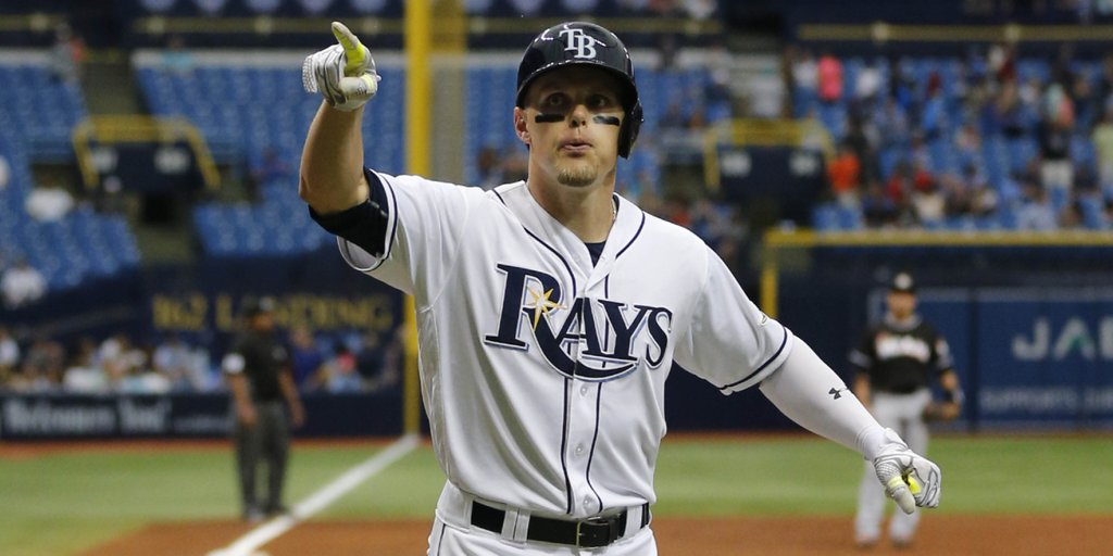Brandon Guyer's sixth homer of the season Thursday made a minor dent in the Marlins overall 9-1 winning margin. (Photo Credit: Tampa Bay Times)