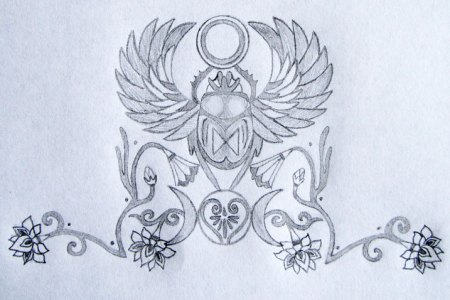 sacred scarab tattoo design