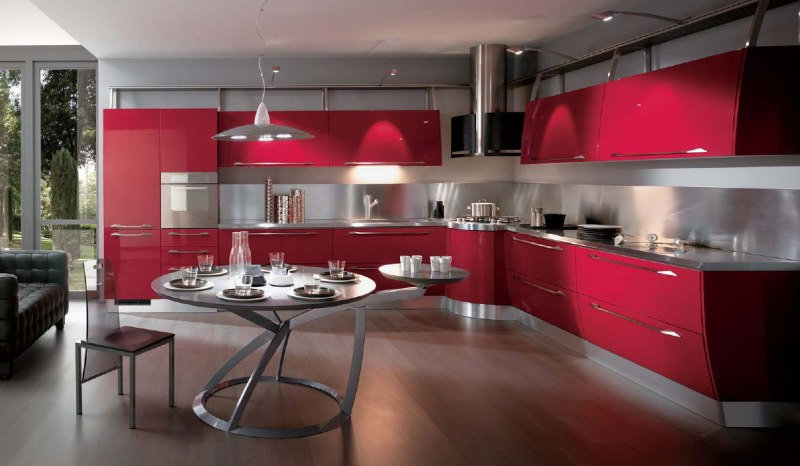 Large Of Red Modern Kitchens