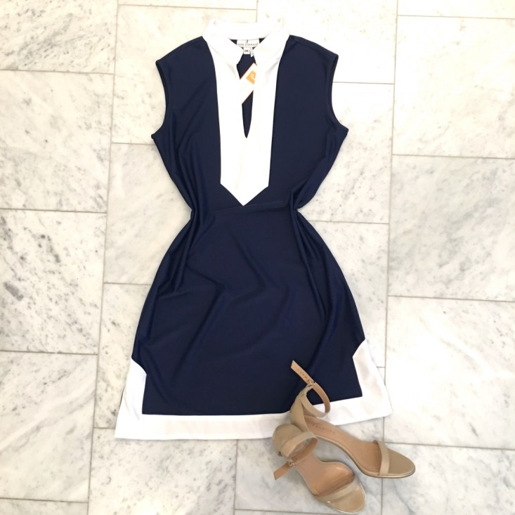 Jude Connally blue and white dress, Talbots nude sandals, summer dress, casual style