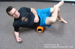 Sit on the foam roller. Turn your body to one side. Massage through the entire gluteal area from the crack of your butt to the outside of your hip, top of the pelvis to the top of the thigh. For plantar fasciitis treatment.