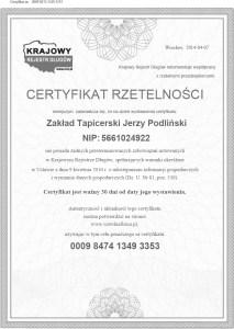 Certyfikat Rzetelnosci Zaklad Tapicerski Jerzy Podlinski [PL]