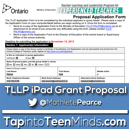 Teacher Learning and Leadership Program TLLP Application