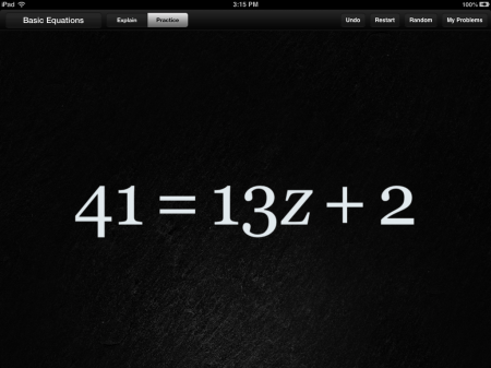 Algebra Touch Math iPad iPhone App | Solve Basic Equations