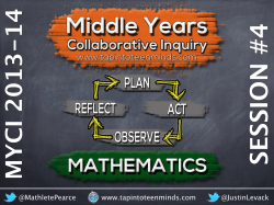 2013-14 Middle Years Collaborative Inquiry (MYCI) Session #4