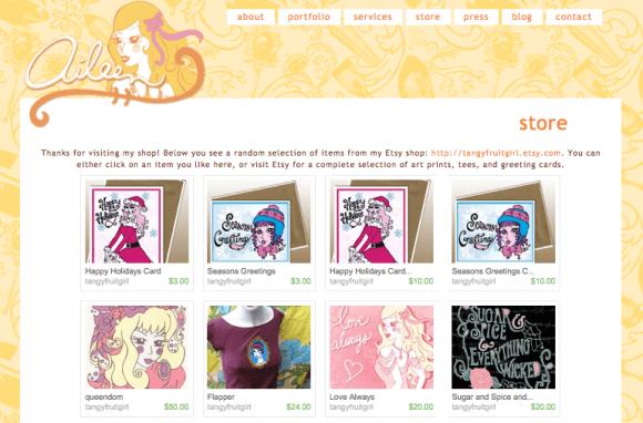 etsy mini shop page