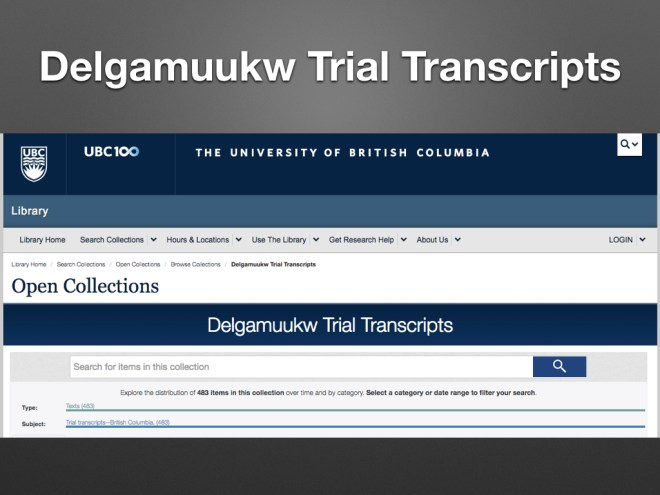 screenshot of UBC Library's Open Collections, Delgamuuk Trial Transcripts