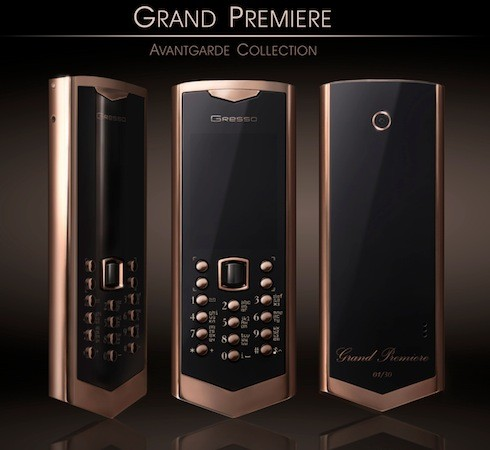 gressograndpremiere1.jpg 39403863 Gresso Avantgarde Grand Premiere: ouro e safira para um telefone que ficou preso na máquina do tempo