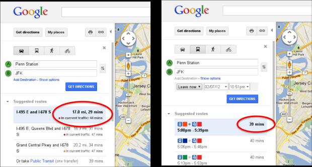 Time in Traffic Transit Google Maps incorpora o sistema de tráfego em tempo real nos itinerários