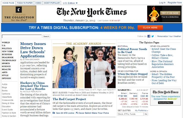 nyt New York Times denuncia ataques de hackers chineses aos computadores do jornal