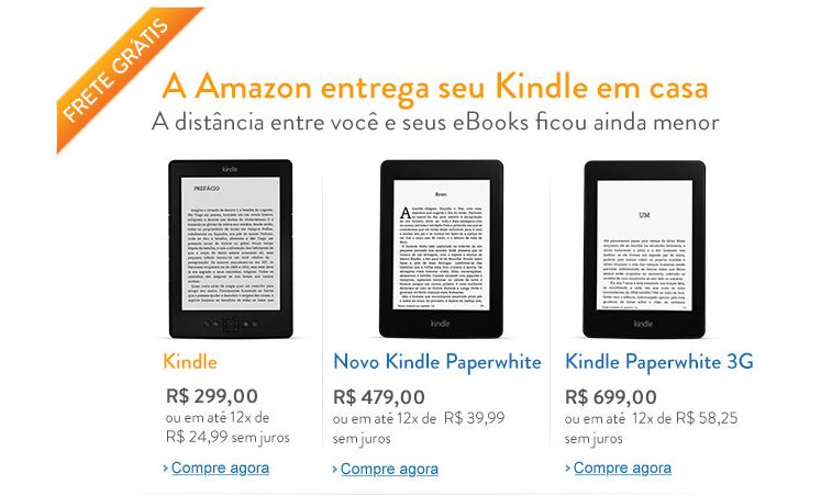 amazon kindle brasil Amazon inicia venda de Kindle diretamente para consumidor no Brasil
