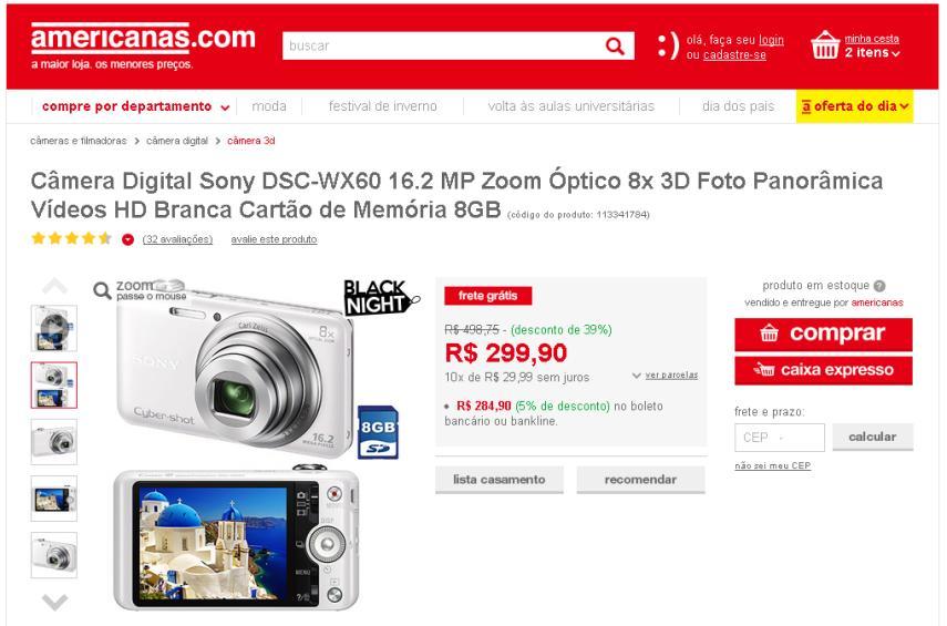 sonydscwx60 Dicas de Compras | Câmera Digital Sony DSC WX60 16.2 MP + cartão 8 GB, por R$ 299