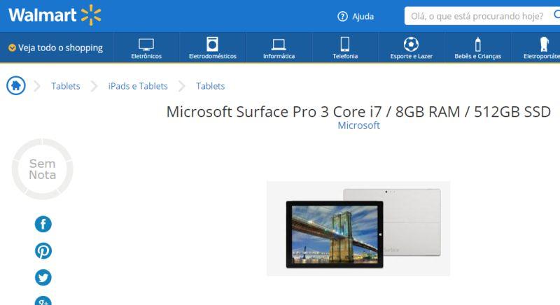 surface pro 3 walmart Tablet Surface Pro 3 da Microsoft aparece em e commerce brasileiro... por R$ 8.7 mil!