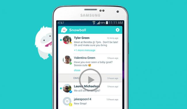 650 1000 snowball Snowball concentra em uma tela todas as mensagens dos seus apps sociais