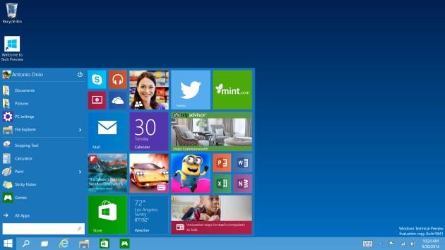 Tech Preview Start menu Windows 10 contará com sistema de verificação em dois passos
