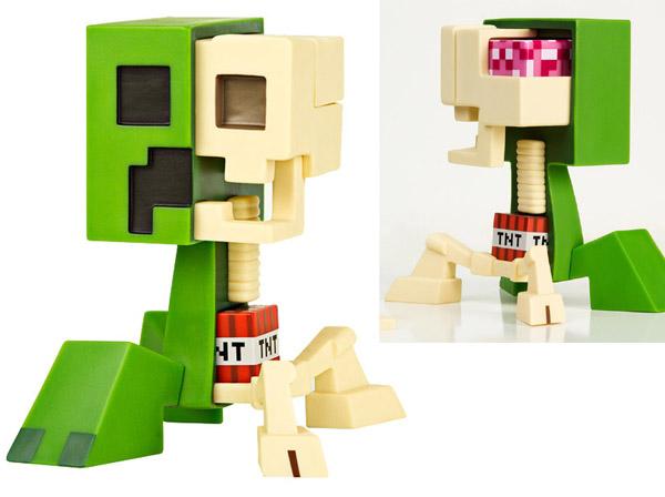minecraft creeper Esta é a anatomia (bizarra) de um Creeper do Minercraft (em action figure)