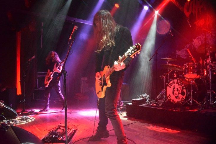 Pictured left to right: Yotam Rubinger (guitar/backing vocals), Kevin (K.R.) Starrs (vocals/guitar), and Itamar Rubinger (drums) from the band Uncle Acid & The Deadbeats.