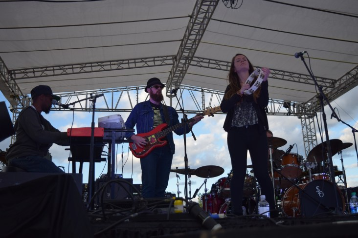 The Eric Krasno Band performing at The Major Rager (2017) in Augusta, Ga. Pictured left to right: DeShawn (keys/vocals), Stu Mahan (bass), and Mary Corso (vocals).