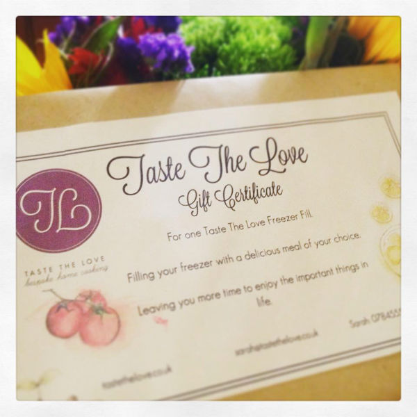 Taste The Love Gift Certificate - personal chef & event catering