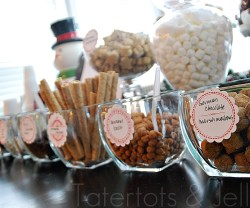 hot chocolate bar condiments in a row