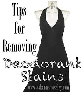 how to get hard white deoderant stains out