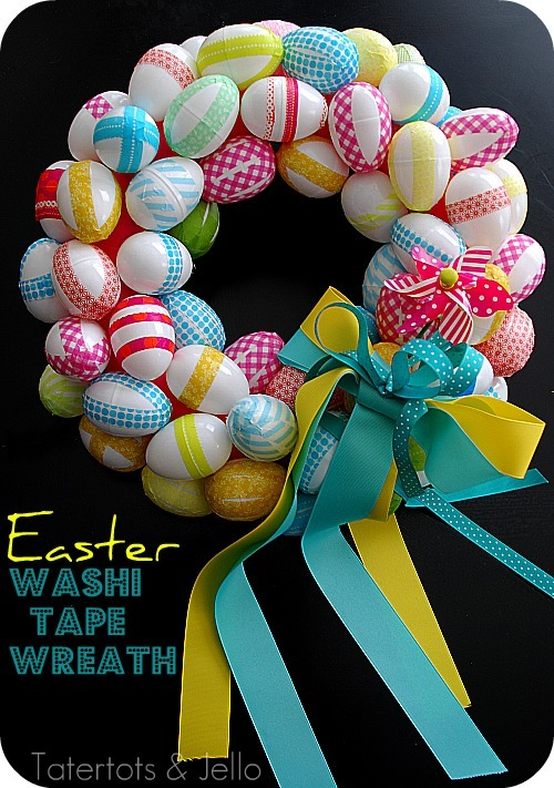 Easter Washi Tape Wreath. Click for 40 more #DIY #Wreath Ideas