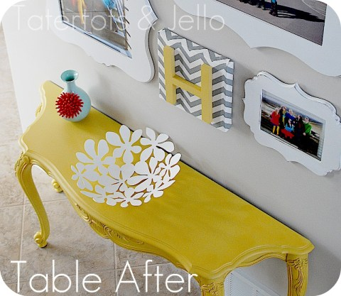 Make a family gallery wall in your home using 3m strips for Yellow painted table