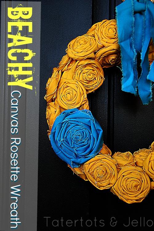 beachy canvas rosette wreath tutorial