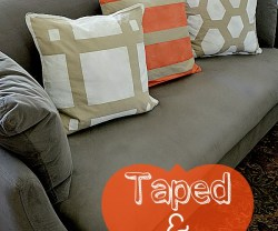 taped and painted pillows