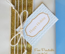 HAPPY Holidays — Glitter and Blue Holiday Gift Tags (Free Printable)