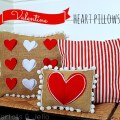 valentine heart and pom pom pillows