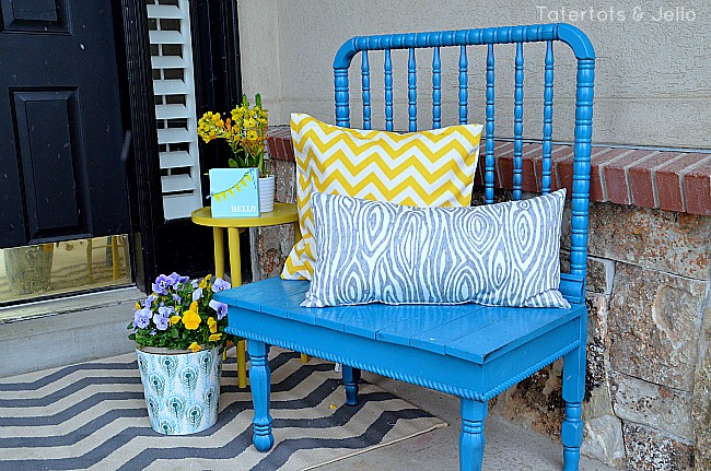 spring porch blue bench