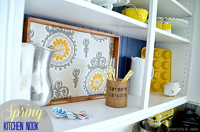 navy and yellow open shelves