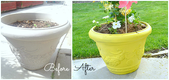 painted pots before and after