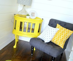 painted yellow table at tatertots and jello