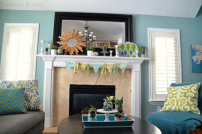 spring mantel and succulents