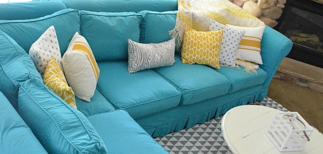 turquoise slipcover at Tatertots & Jello