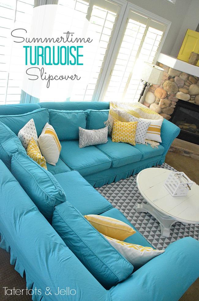 turquoise slipcover at Tatertots & Jello