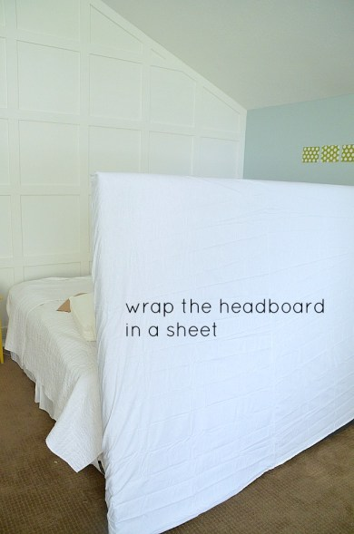 wrap the headboard in a sheet
