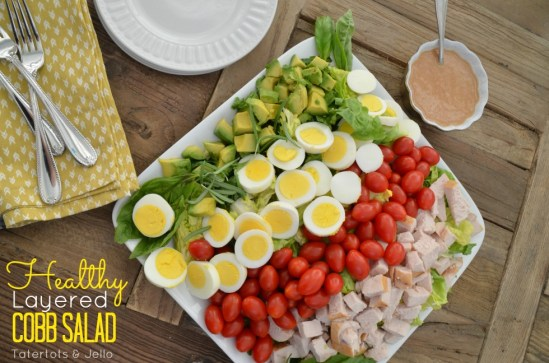 healthy layered cobb salad