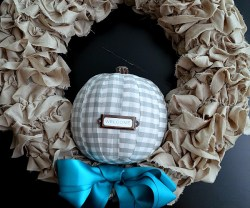 plaid pumpkin and ruffle wreath