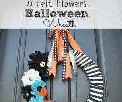 Halloween Stripe and Felt Flower Wreath and FREE Printable Flower Template!