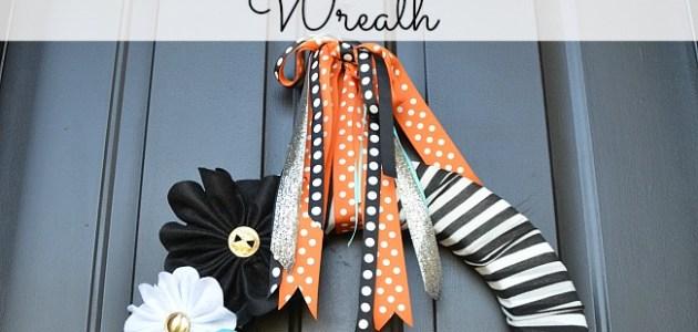 stripes and felt flowers halloween wreath