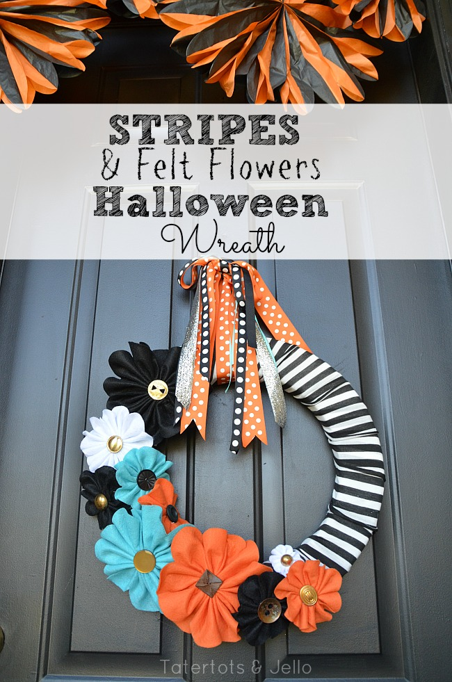 stripes and felt flowers halloween wreath