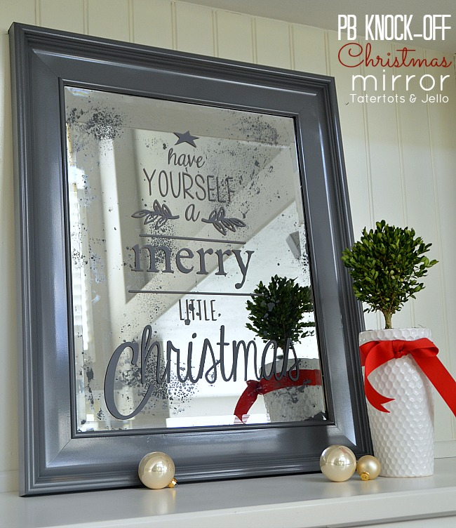 inspired pottery barn christmas mirror